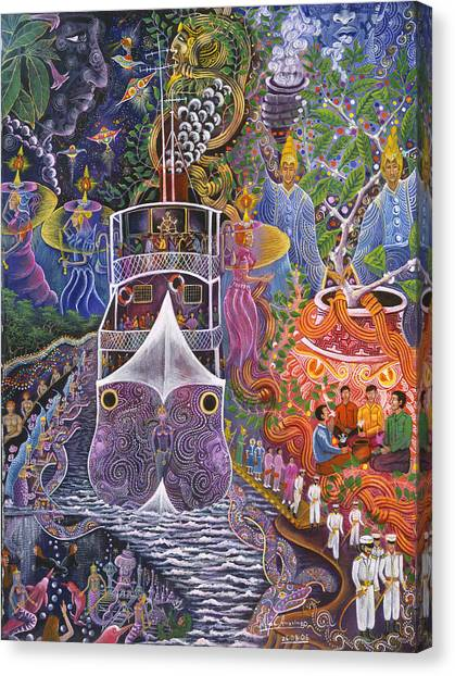 Canvas Print featuring the painting Barco Fantasma by Pablo Amaringo