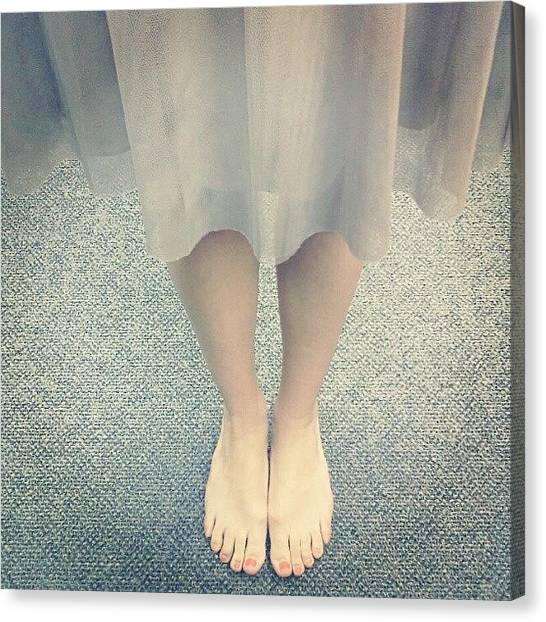 Feet Canvas Print - Barefoot In The Office, Woops by Amanda Schoonover