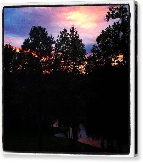 Lake Sunsets Canvas Print - Barely Made It Out Back After Dinner To by Molly Slater Jones