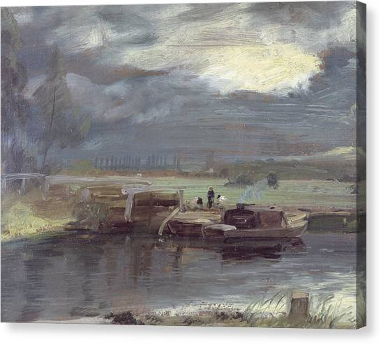 Dedham Canvas Print - Barges On The Stour With Dedham Church In The Distance by John Constable