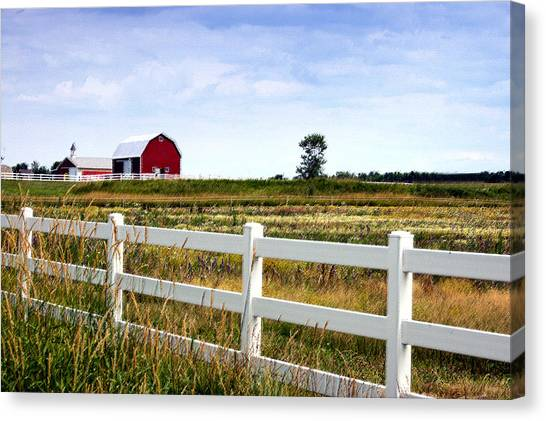 Barn And Fence Canvas Print by Cheryl Cencich
