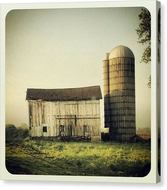 Barns Canvas Print - #barn #farm #morning #old #sky by Bryan P