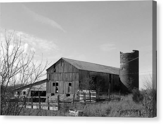 Barn In Black And White Canvas Print by Brittany Roth