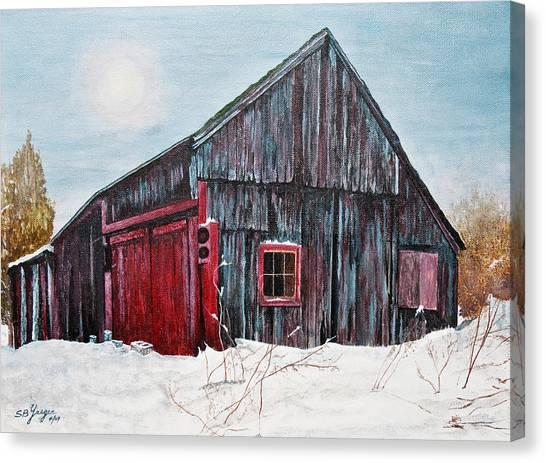 Barn In Snow Southbury Ct Canvas Print