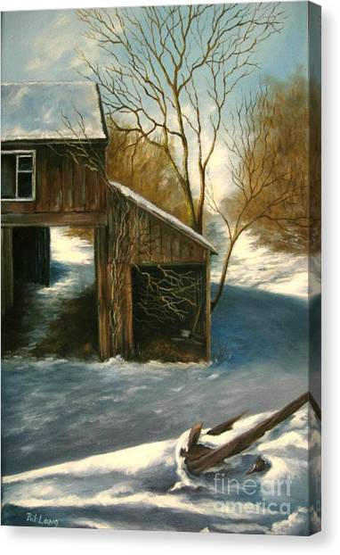 Barn In The Snow Canvas Print by Patricia Lang