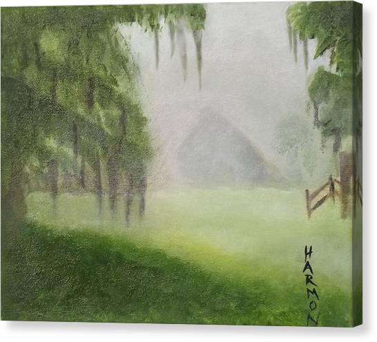 Barn On Foggy Morning Canvas Print