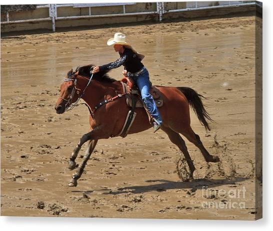 Barrel Racing Canvas Print - Barrel Racing At The Calgary Stampede by Louise Heusinkveld