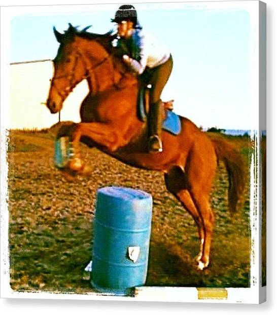 Thoroughbreds Canvas Print - Barrels! Andy And Chrissy At Sherwood by Anna Porter