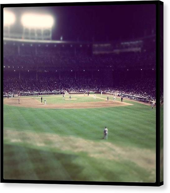 Bat Canvas Print - Baseball Under The Lights by Jen K