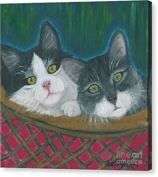 Basket Of Kitties Canvas Print