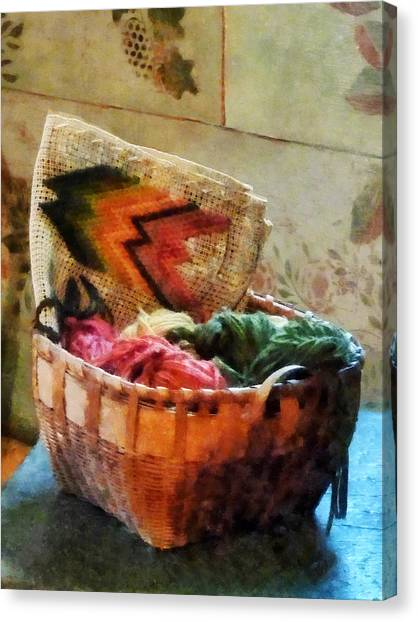 Sewing Canvas Print - Basket Of Yarn And Tapestry by Susan Savad