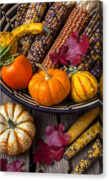 Persimmon Canvas Print - Basketful Of Autumn by Garry Gay