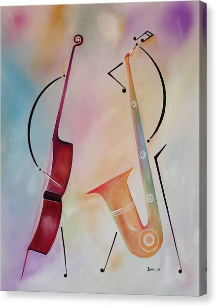 Brass Instruments Canvas Print - Bass And Sax by Ikahl Beckford