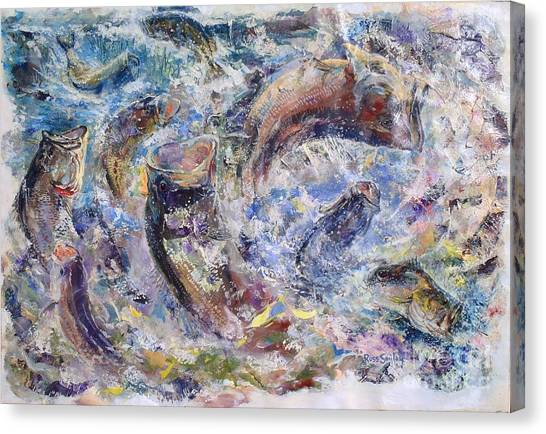 Freshwater Canvas Print - Bass Collage  by Carey Chen