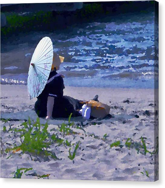 Bather By The Bay - Square Cropping Canvas Print