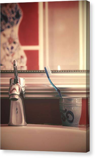 Toothbrush Canvas Print - Bathroom by Joana Kruse