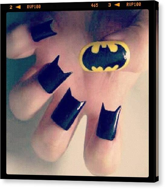 Bat Canvas Print - #batman #bat #man #black #yellow #nails by Alexandra Gerakin