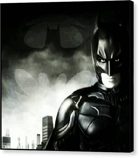 Bat Canvas Print - #batman #thedarkknight #blackandwhite by Peter Dickinson
