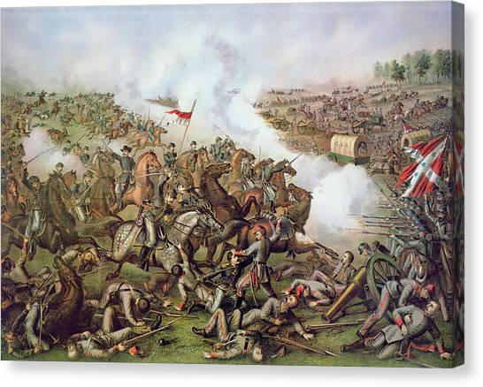 Confederate Army Canvas Print - Battle Of Five Forks Virginia 1st April 1865 by American School