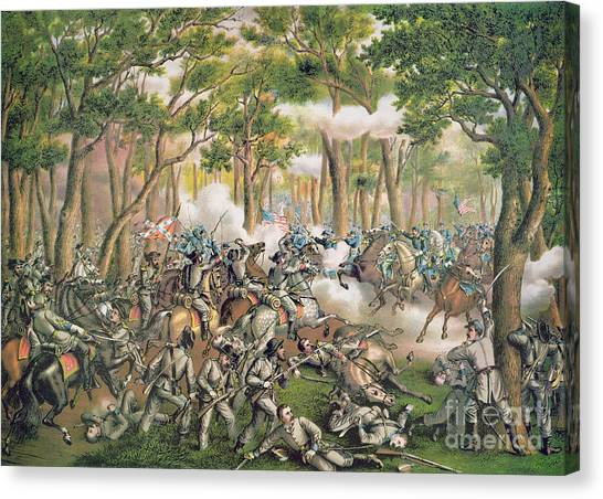 Confederate Army Canvas Print - Battle Of The Wilderness May 1864 by American School