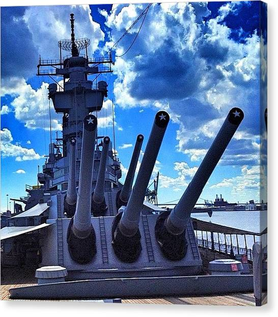 Battleship Canvas Print - Battleship New Jersey by Fred Lambert