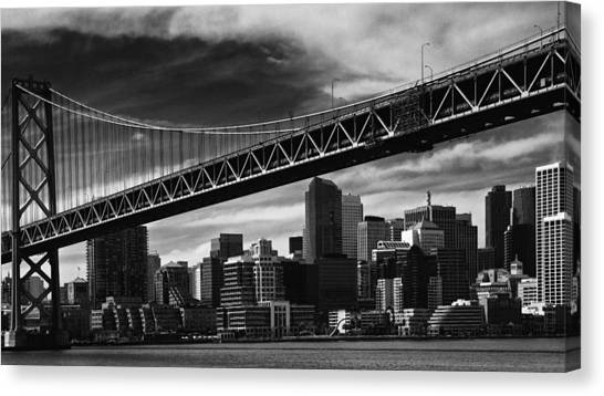 Bay Bridge And Dowtown San Francisco Canvas Print by Laszlo Rekasi