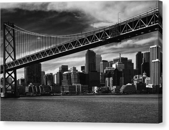 Bay Bridge And San Francisco Downtown Canvas Print by Laszlo Rekasi