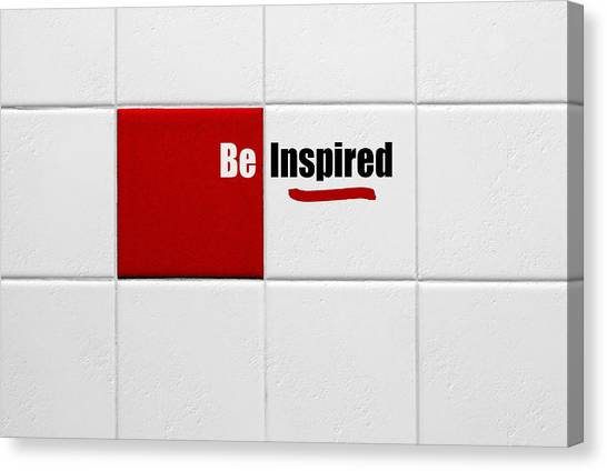 Be Inspired Modern Style Red Tile Canvas Print