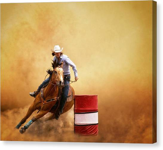 Barrel Racing Canvas Print - Be Quick  by Ron  McGinnis