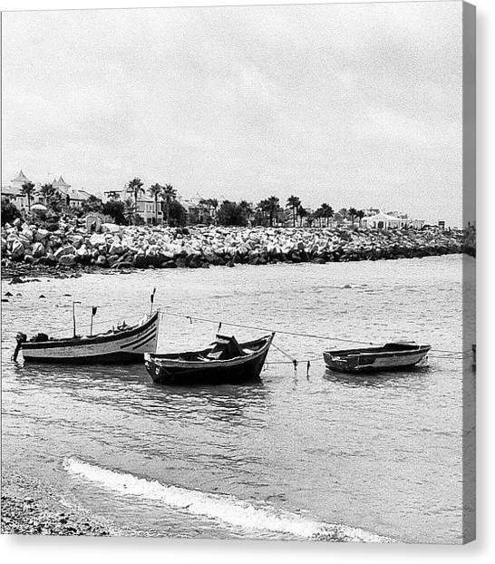 Fishing Canvas Print - #beach #boat #fish #ocean #fishing #bw by Soredewa Seitai