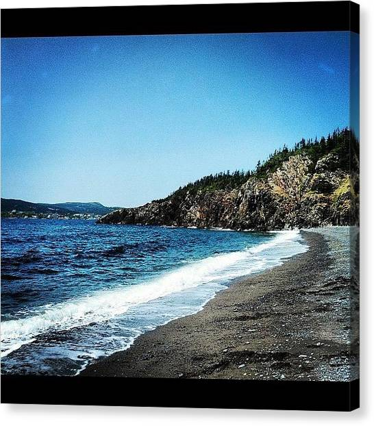 Rocky Mountains Canvas Print - Beach In Trinity  by Julia Norris