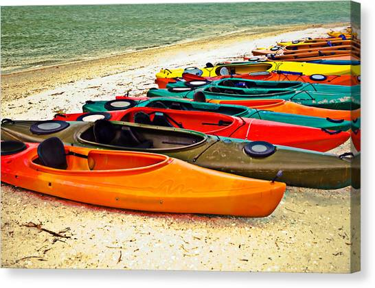 Beach Kayaks Canvas Print