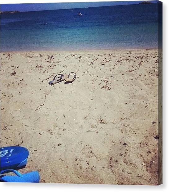 White Sand Canvas Print - Beach Life by Shirley  Sutandhio