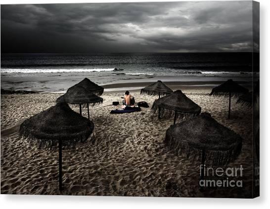 Folk Singer Canvas Print - Beach Minstrel by Carlos Caetano