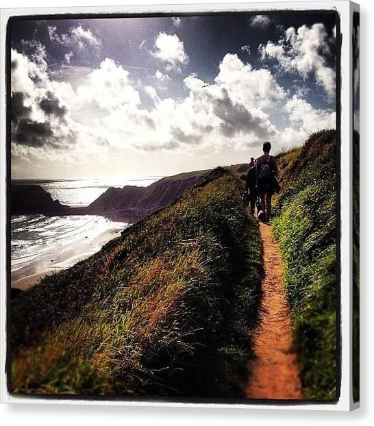 Beach Cliffs Canvas Print - #beach #path #walk #seaview #seaside by Rachel Purchase