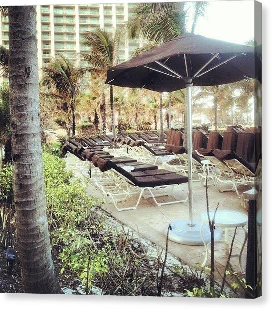 Lounge Canvas Print - #beach #pool #lounge. #brown #palms by A Silva