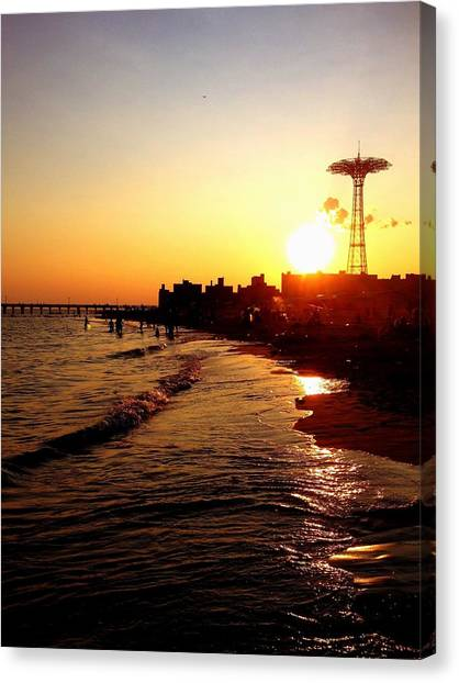 Sunset Canvas Print - Beach Sunset - Coney Island - New York City by Vivienne Gucwa
