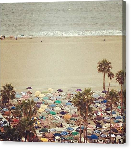 Santa Monica Canvas Print - Beach Umbrellas Overcast July 5 by Lana Rushing