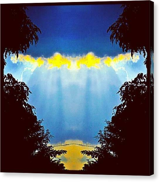 Art Deco Canvas Print - Beamin' (#sunbeam #sunshine #clouds by Alicia Marie