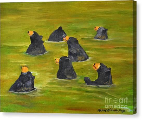 Bear Bath  Canvas Print by Maria Williams