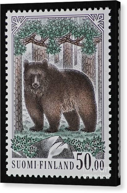 Bear Vintage Postage Stamp Print Canvas Print