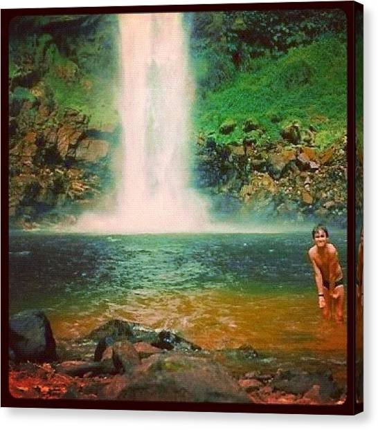 Waterfalls Canvas Print - Beautiful And Cold!! ..look The Boy!! by Avatar Pics
