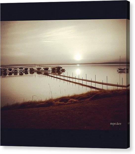 Lake Sunrises Canvas Print - Beautiful Burt Lake... #sunrise #dock by Margie P