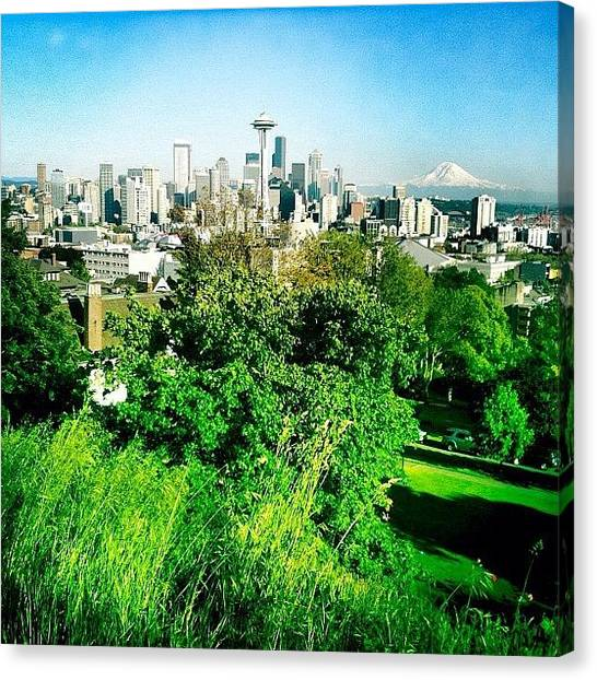 Seattle Skyline Canvas Print - Beautiful Day In Seattle by Chris Fabregas