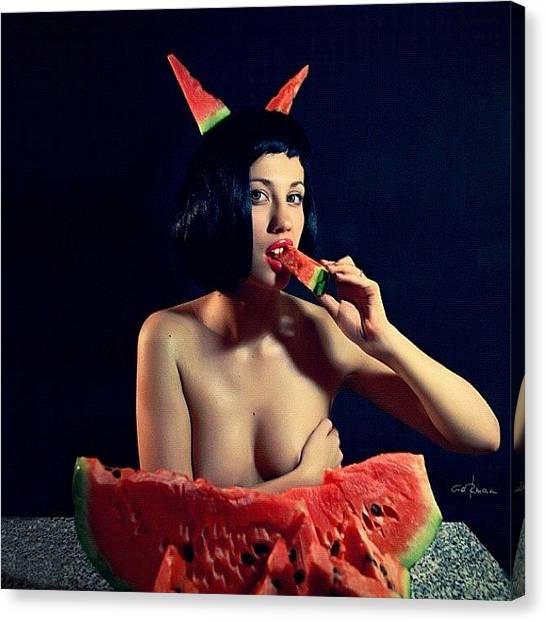 Watermelons Canvas Print - #beautiful #devil #girl #besom #red by Garaev German
