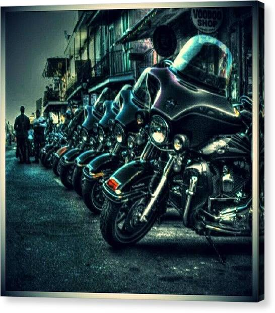 Biker Canvas Print - Beautiful Machines. #motorcycles #bikes by Mary Carter