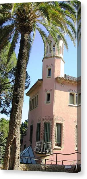 Beautiful Pink Architecture And Palm Tree At Park Guell Barcelona Spain Canvas Print by John Shiron