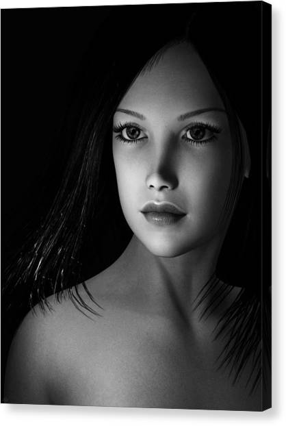 Beautiful Portrait - Black And White Canvas Print