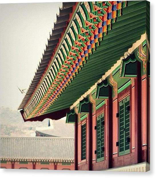 Korean Canvas Print - Beautiful Traditional Architecture At by Shafik Ismail
