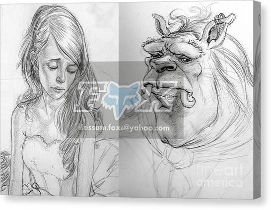 Beauty And The Beast Canvas Print by Hossam Fox